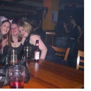 Laura's hen night. Fiona in the middle, me on the right