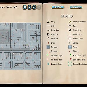 Bard's Tale 1 Remastered - Mangar's Tower, Level 2 Map